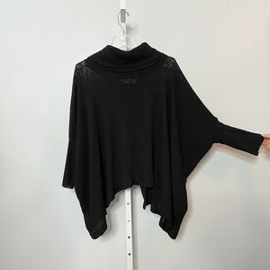 Free People Beach Sweater Poncho Turtle Neck with Cross Open Back
